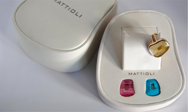 Contemporary Mattioli Puzzle Collection 18 Karat Rose Gold Ring with Diamonds and 3 Puzzles For Sale