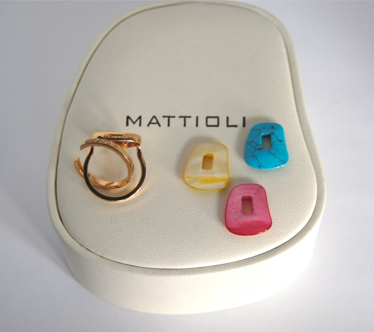 Rose Cut Mattioli Puzzle Collection 18 Karat Rose Gold Ring with Diamonds and 3 Puzzles For Sale