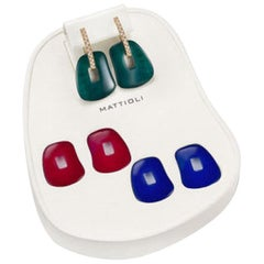 Mattioli Puzzle Earrings 18K Rose Gold Emerald Blue Sapphire Ruby Crystal Rock M