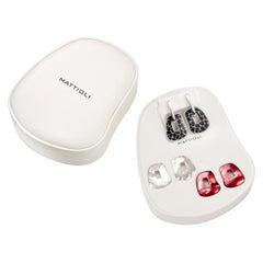 Mattioli Puzzle Safari Earrings 18K White Gold Black Enamel and 2 Pendants SSize