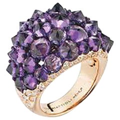 Mattioli Reve_r Medium Ring in Rose Gold, Amethysts and White Diamonds