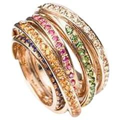 Mattioli Tibet Ring in Rose Gold and Brown Diamonds, Sapphires and Tsavorites