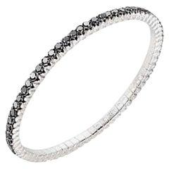 Mattioli X-Band Expandable Bracelet in White Gold and Black Diamonds