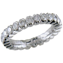 Mattioli X-Band Expandable Eternity Rings in White Gold and White Diamonds
