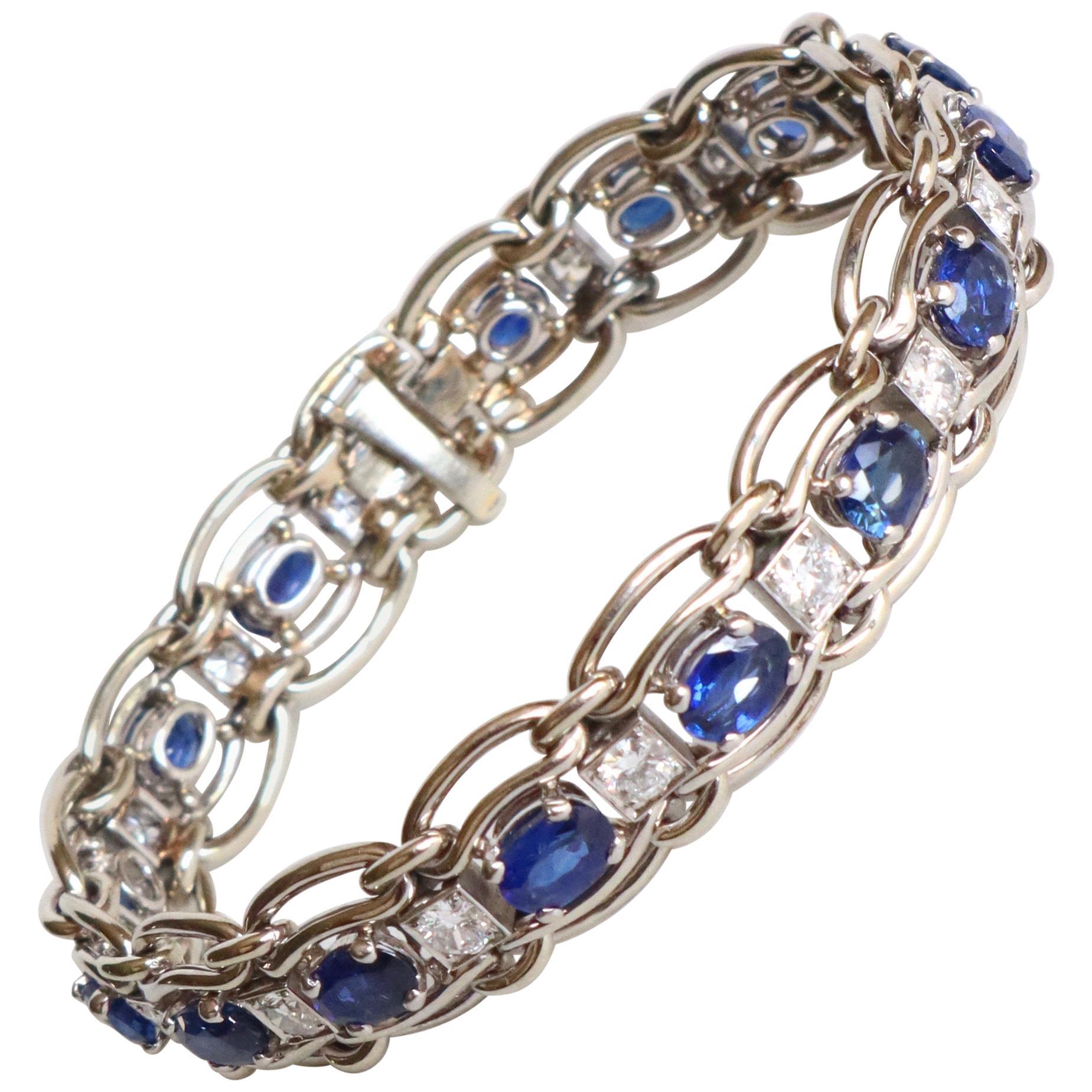 Mauboussin White Gold Bracelet, Sapphires and Diamonds
