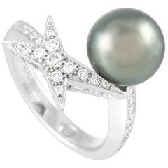 Mauboussin 18 Karat White Gold Diamond and Pearl Ring