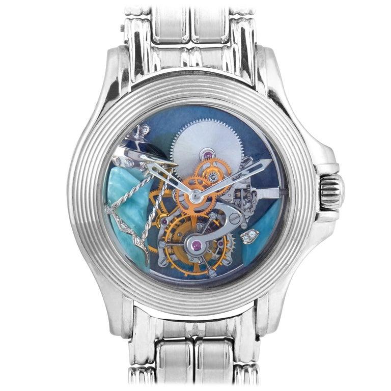 Mauboussin 18 Karat White Gold Tourbillon Watch For Sale
