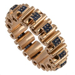 Mauboussin 18 Karat Yellow Gold and Blue Sapphire Tank Bracelet
