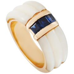 Mauboussin 18 Karat Yellow Gold Sapphire and Mother of Pearl Ring
