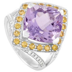 Mauboussin 18 Karat White Gold Amethyst, Citrine, and Diamond Ring