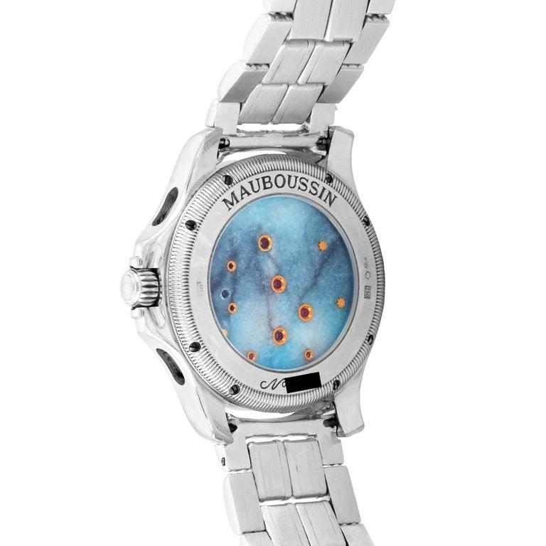 Women's or Men's Mauboussin 18 Karat White Gold Tourbillon Watch For Sale