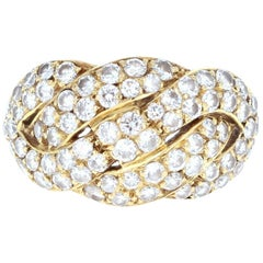 Mauboussin 18 Karat Yellow Gold and Woven Diamond Ring 1.25 Carat with Box