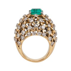 Mauboussin 1960s Gold, Emerald, and Diamond Lattice Work Cocktail Ring