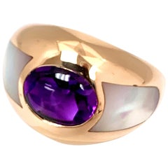 """Mauboussin """"Aloha"""" Amethyst and Mother of Pearl 18K Yellow Gold Ring"""