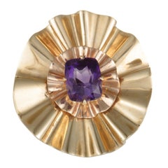 Mauboussin Antique 18 Karat Yellow Gold Rectangle Amethyst Wrinkled Round Brooch