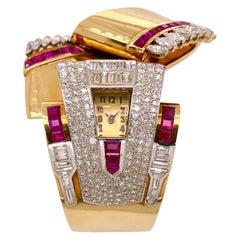 Mauboussin Antique Retro Ruby Diamond Bangle Watch in 18 Karat Gold, circa 1930