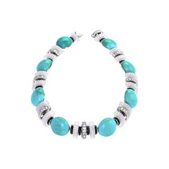 Mauboussin Art Deco Turquoise, Chalcedony, Diamond and Rock Crystal Necklace