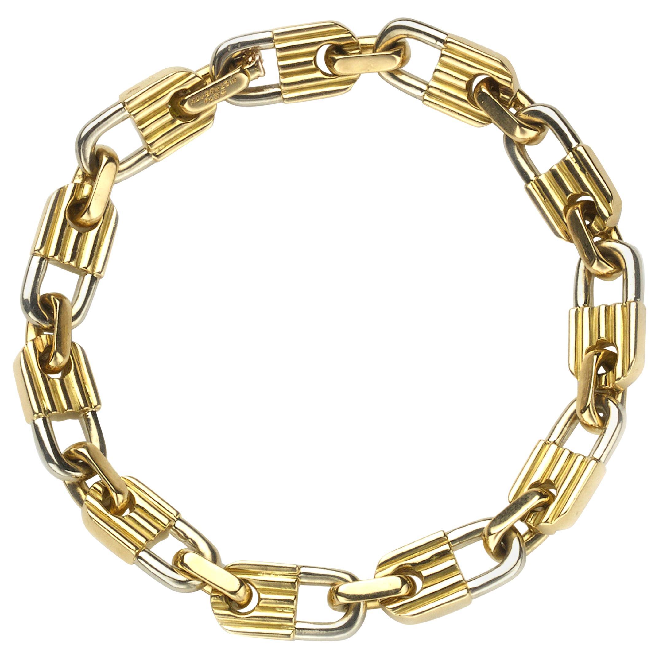 Mauboussin Bi-Color Gold Padlock Bracelet, circa 1980