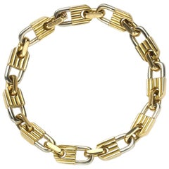 Mauboussin Bi-Colour Gold Padlock Bracelet Circa 1980