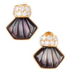 Mauboussin Black Mother of Pearl and Diamond Yellow Gold Screw Back Earrings