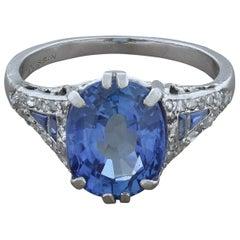 Mauboussin Blue Sapphire Diamond Platinum Ring