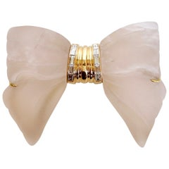 Mauboussin Brooch, Rock Crystal, Yellow Gold and 10 Baguette Diamonds