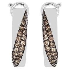 Mauboussin Champagne Diamond Pave Earrings, 18 Karat White Gold