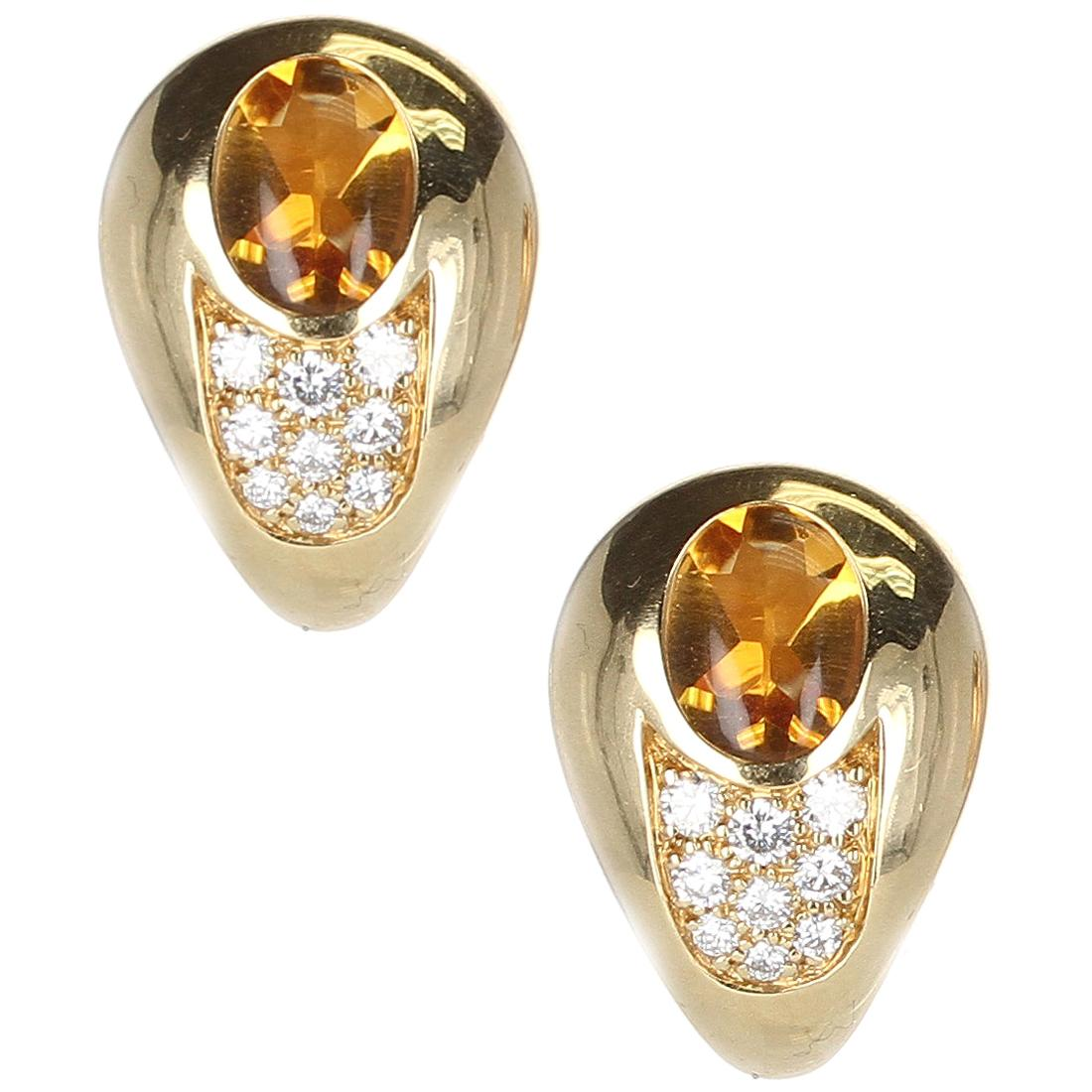 Mauboussin Citrine and Diamond 18 Karat Yellow Gold Earrings