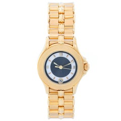 Mauboussin Ladies Yellow Gold Blue Dial Quartz Wristwatch