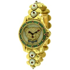 Mauboussin Classic Multi Gem Stone Round Watch Ref. R.64680 in 18 Karat Gold