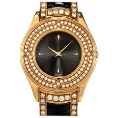 Mauboussin Diamond 18 Karat Gold Black Leather Men's Watch R62683