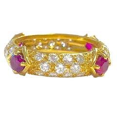 Mauboussin Diamond and Ruby Yellow Gold Eternity Band