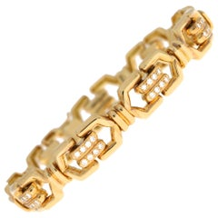 Mauboussin Diamond Chain Link Bracelet Set in 18 Karat Yellow Gold