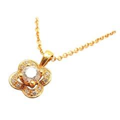 Mauboussin Diamond Flower Rose Gold Pendant Necklace