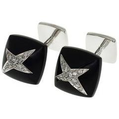 Mauboussin Diamond Onyx 18 Karat White Gold Etoile Divine Cufflinks