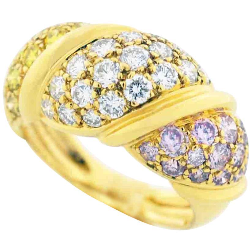 Mauboussin Diamond Pink Diamond Yellow Diamond 18 Karat Yellow Gold Ring
