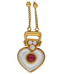 Mauboussin Diamond, Ruby and Mother of Pearl Heart Necklace
