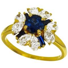 Mauboussin Diamond Sapphire 18 Karat Yellow Gold Ring