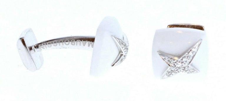 Round Cut Mauboussin Diamond White Onyx 18K White Gold Etoile Divine Cufflinks 11.5g For Sale