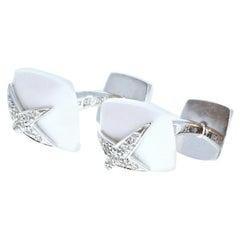 Mauboussin Diamond White Onyx 18K White Gold Etoile Divine Cufflinks 11.5g