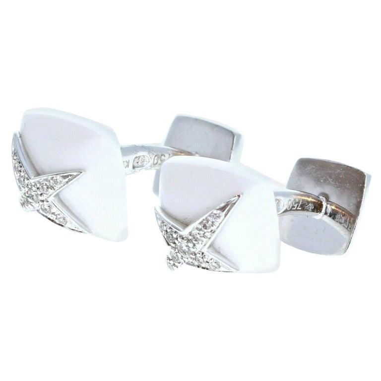 Mauboussin Diamond White Onyx 18K White Gold Etoile Divine Cufflinks 11.5g For Sale