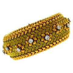 Mauboussin Diamond Yellow Gold Bracelet, 1950s