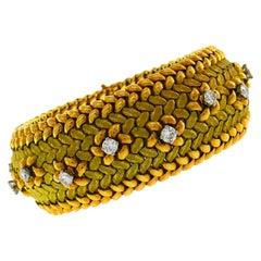 Mauboussin Diamond Yellow Gold Bracelet, 1950s