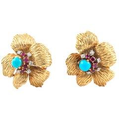 Mauboussin Flower Earrings and Brooch Set