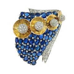 Mauboussin for Trabert & Hoeffer Large Gold Platinum and Gem Set Clip Brooch