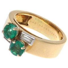 Mauboussin France Emerald Diamond Platinum Ring