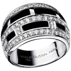 "Mauboussin ""le Vice"" Diamonds and Black Lacquer 18 Carat White Gold Ring"