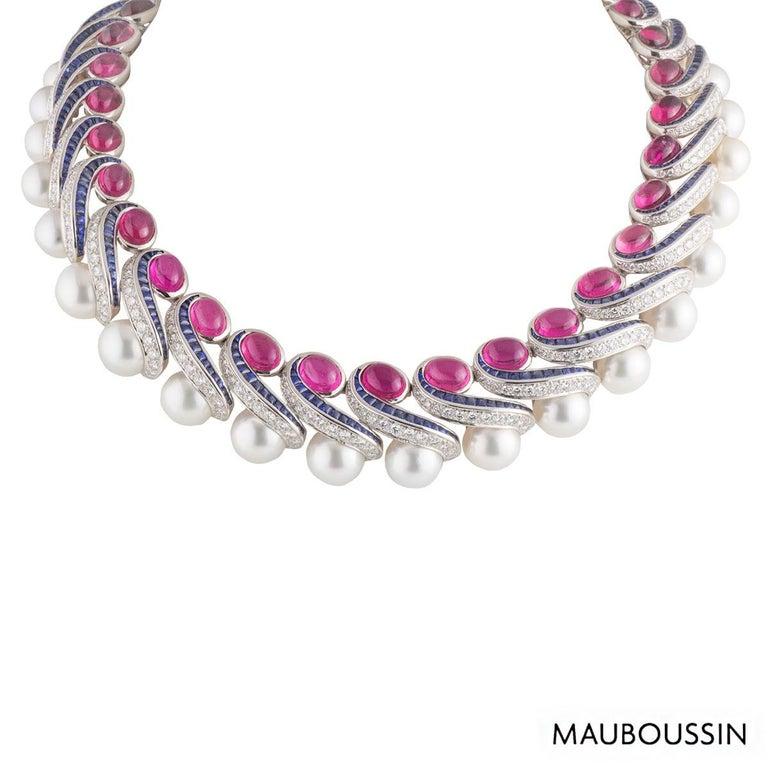 Mauboussin Multi-Gemstone Diamond and Sapphire Choker Necklace For Sale 1