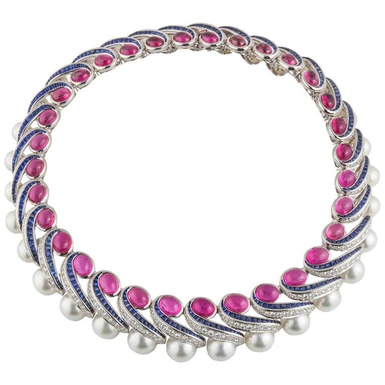 Mauboussin Multi-Gemstone Diamond and Sapphire Choker Necklace For Sale