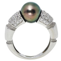 Mauboussin Nadja Cultured Pearl Diamond 18K White Gold Cocktail Ring Size 52